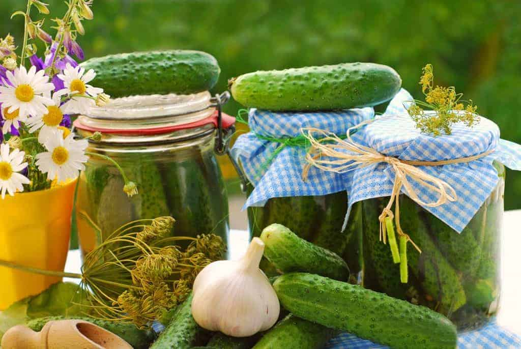 Jars of homemade pickles, cucumbers, flowers on a garden table