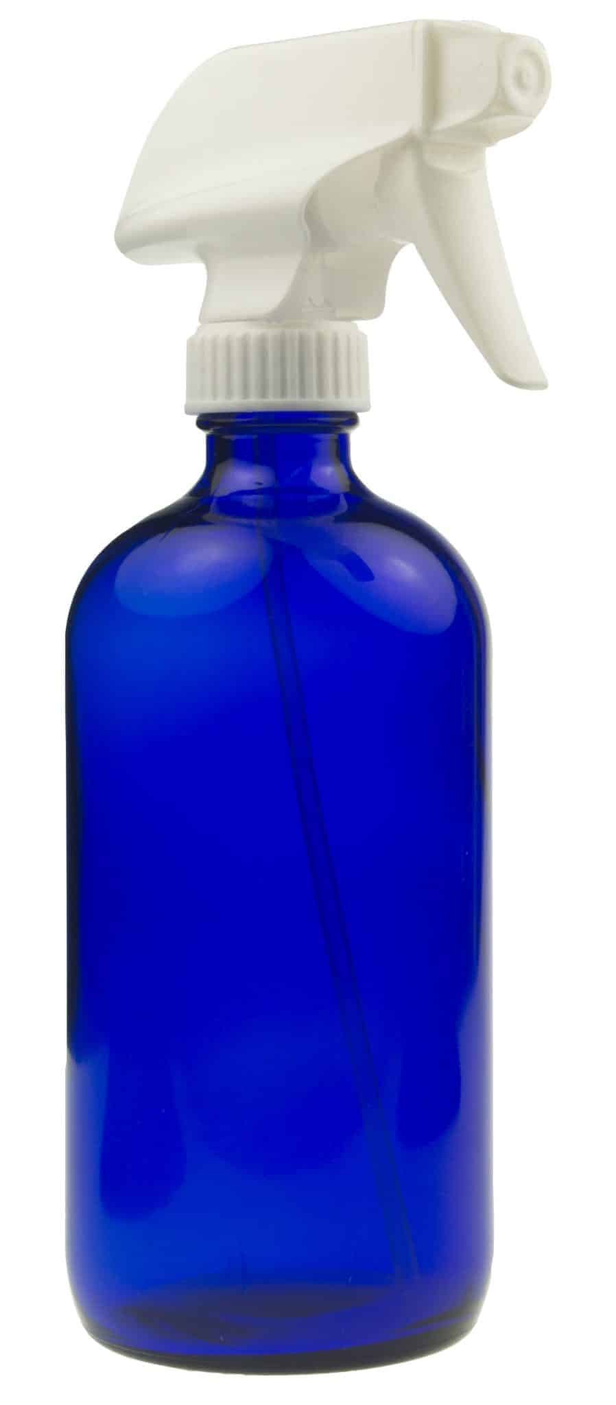 16oz Blue Glass Spray Bottle with White Spray Nozzle ~ 1 Pack Image