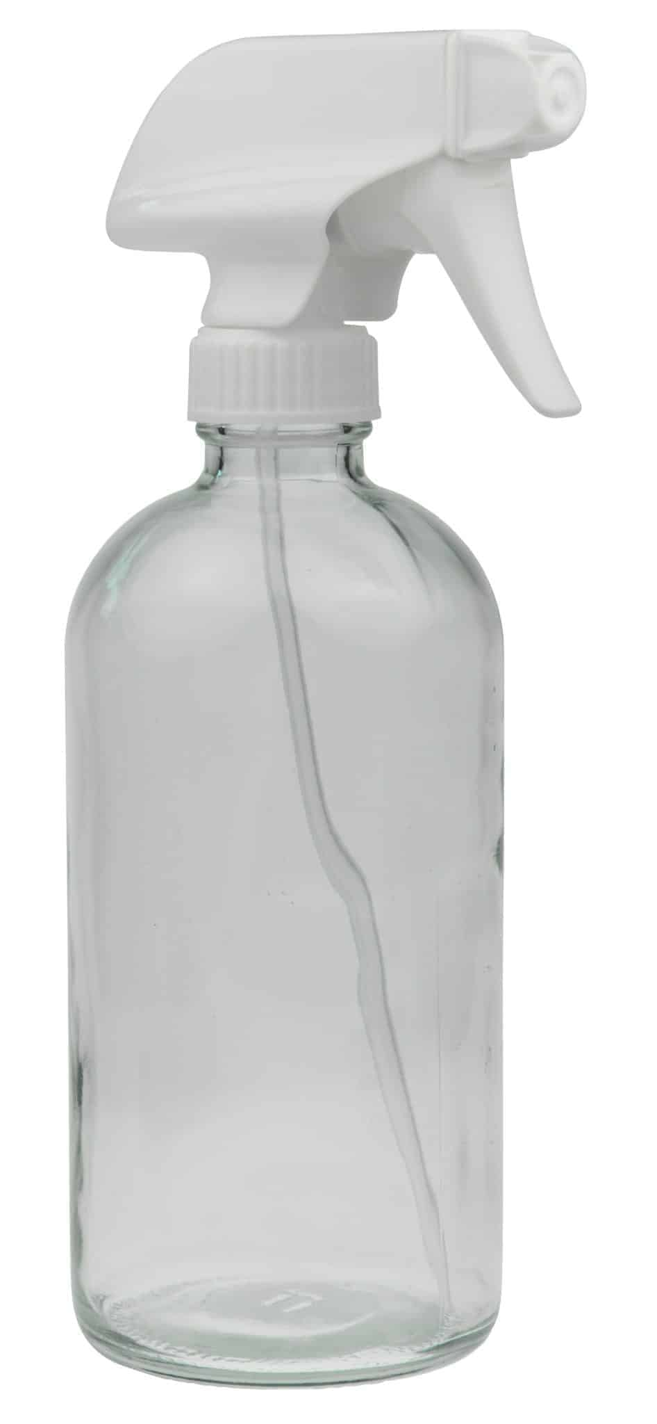 16oz Clear Glass Spray Bottle with White Spray Nozzle ~ 1 Pack Image